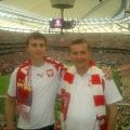 Z synem Mateuszem na meczu otwarcia